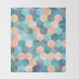 Child's Play 2 - hexagon pattern in soft blue, pink, peach & aqua Throw Blanket