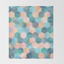 Child's Play 2 - hexagon pattern in soft blue, pink, peach & aqua Throw Blanket