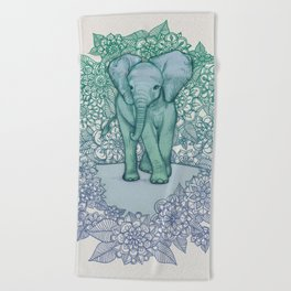 Emerald Elephant in the Lilac Evening Beach Towel