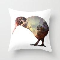 kiwi Throw Pillows featuring kiwi by Rosa Picnic