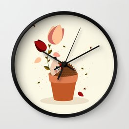 Hérisson et tulipes Wall Clock