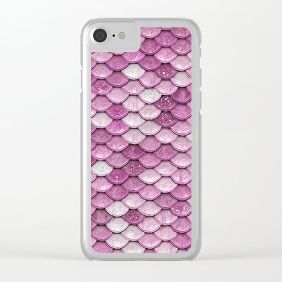 Light Pink Glitter mermaid sparkling scales - Mermaidscales Clear iPhone Case