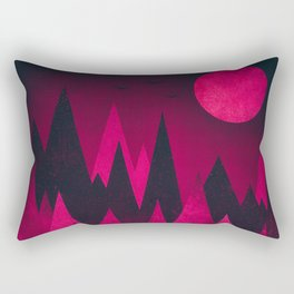 Dark Triangles (Peak Woods) Abstract Grunge Mountains Design (red/black) Rectangular Pillow