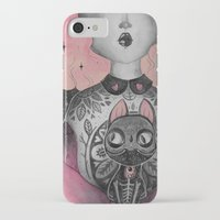 black cat iPhone & iPod Cases featuring Black Cat by lOll3