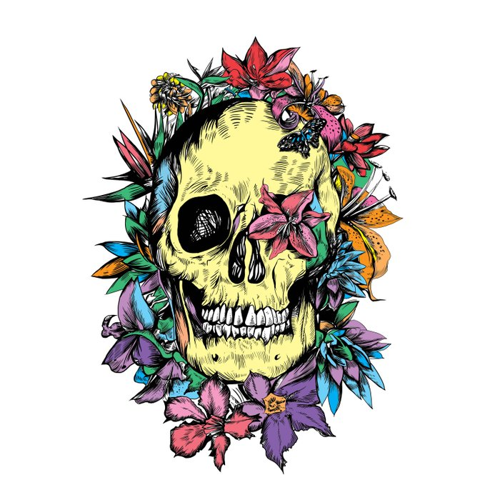 floral skull colorful drawing Comforters