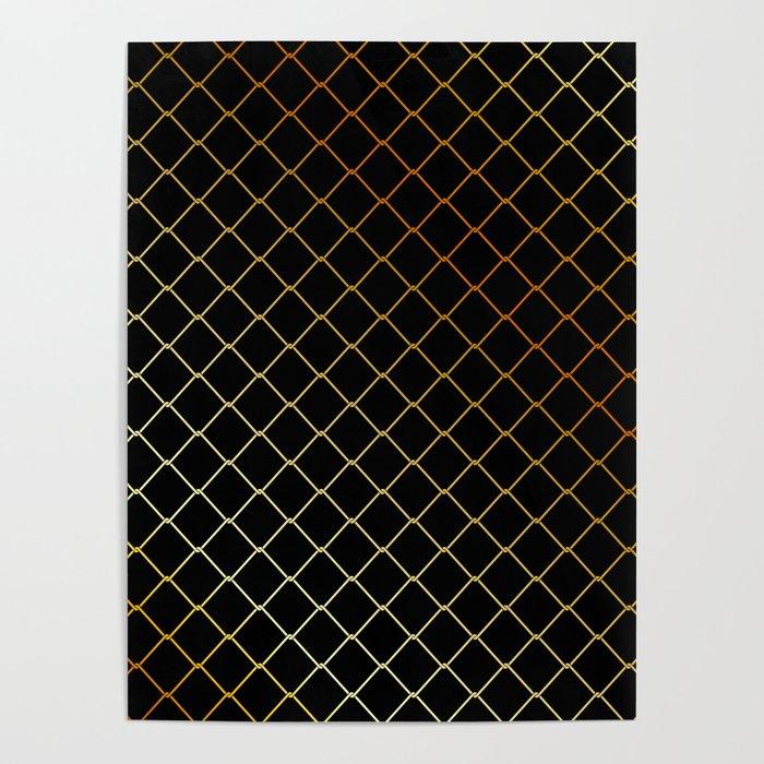 Golden Fishing net on black Poster