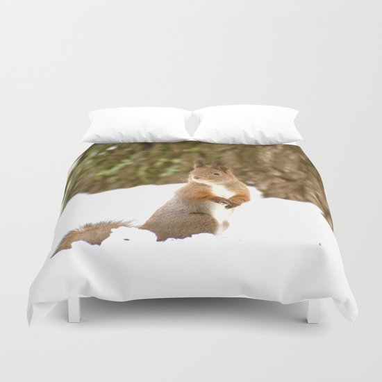 Cute Squirrel In The Forest Duvet Cover