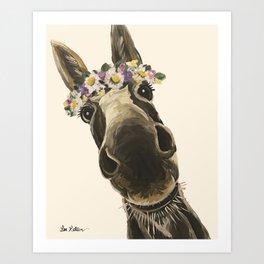 Cute Flower Crown Donkey, Up Close Donkey Art Art Print