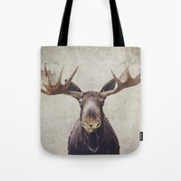 moose Tote Bags featuring Moose by Retro Love Photography