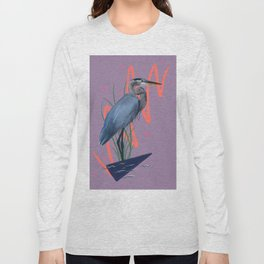 Great blue on the Bayou Long Sleeve T-shirt