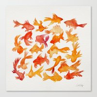 goldfish Canvas Prints featuring Goldfish by Cat Coquillette