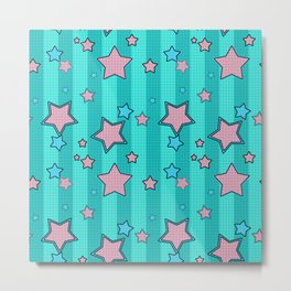 Pink star on turquoise background Metal Print