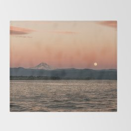 Mt. Hood Moonrise at Sunset Throw Blanket