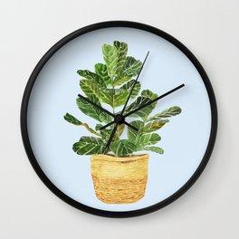 Fiddle Leaf Fig in a Basket- Ficus Lyrata Wall Clock