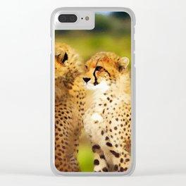 Pair of Cheetahs Clear iPhone Case
