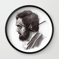 stanley kubrick Wall Clocks featuring Stanley Kubrick by Laurent Samani