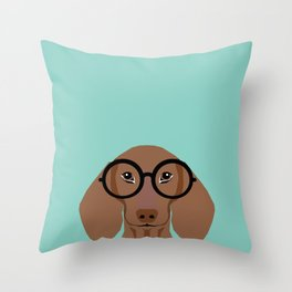 Remy - Daschund with Fashion glasses, hipster glasses, hipster dog, doxie,  Throw Pillow