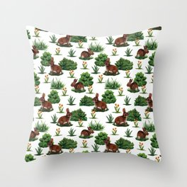 A Bevy Of Bunnies - Rabbit Pattern With Yellow Flower & Green Shrubs Throw Pillow