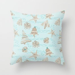 Christmas Holiday Driftwood Tree, Star and Snowflake in Ocean Throw Pillow