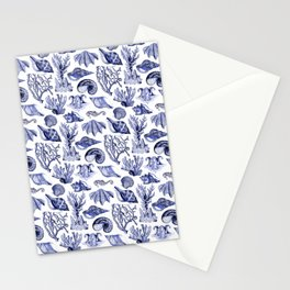 Vintage Nautical Illustrations in Blue Ink Stationery Cards