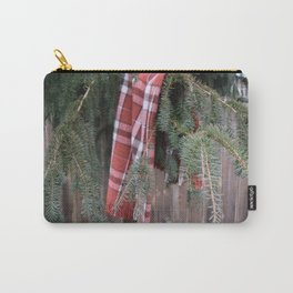 Red Plaid Blanket Hanging on a Pacific North West Pine Tree in Winter Carry-All Pouch