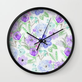 Hand painted lavender lilac blue watercolor flowers Wall Clock