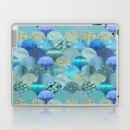 Blue Turquoise Glamour Fish Skin Scale Pattern Laptop & iPad Skin