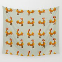 rooster Wall Tapestries featuring Rooster  by mailboxdisco