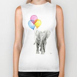 Baby Elephant with Balloons Nursery Animals Prints Whimsical Animal Biker Tank