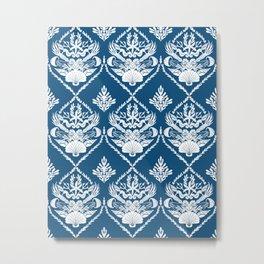 Neptune's joy blue damask Metal Print