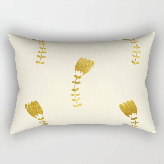 Cream Gold Foil 03 Rectangular Pillow