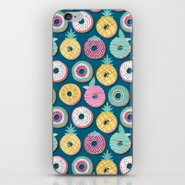 Undercover donuts // turquoise background pastel colors fruit donuts iPhone Skin