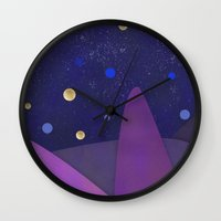 cabin Wall Clocks featuring Cabin Fever by Olivia James