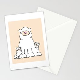 Mother polar bear and cubs Stationery Cards