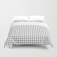 Dotted Grid Black on White Boarder Duvet Cover