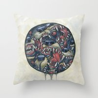 anxiety Throw Pillows featuring Anxiety by stablercake