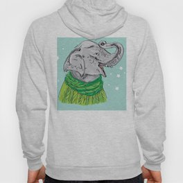 Merry Christmas New Year's card design Elephant head with a raised trunk in a knitted sweater Hoody
