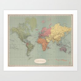 Vintage Map of The World (1889) Art Print