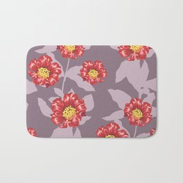 Hibiscus and pomegranate flowers in purple Bath Mat