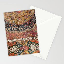 Persian Medallion Rug IX // 16th Century Distressed Red Green Blue Flowery Colorful Ornate Pattern Stationery Cards