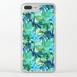 Palm Leaf Green Clear iPhone Case
