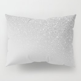 Diagonal Gray Silver Glitter Gradient Ombre Pillow Sham