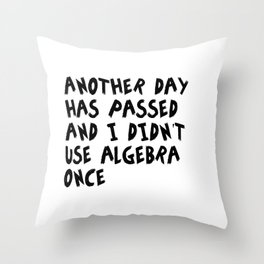 Another Day Has Passed I Didn't Use Algebra Throw Pillow