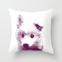 puppy Throw Pillows featuring Puppy by Deliratio