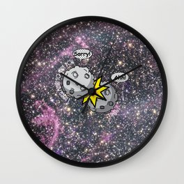 I never meant to hurt you - meteor collision in space cartoon Wall Clock