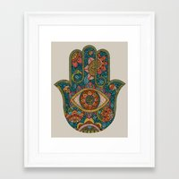 hamsa Framed Art Prints featuring Hamsa by Valentina Harper