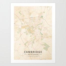 Cambridge, United Kingdom - Vintage Map Art Print