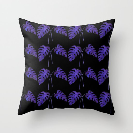 Indigo Monstera Leaf Watercolor on Black Throw Pillow
