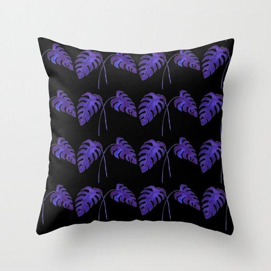 Indigo Monstera Leaf Watercolor on Black Throw Pillow