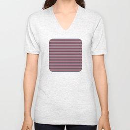 Blue, red, white stripes Unisex V-Neck